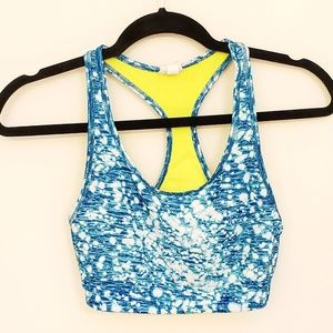 C9 blue and neon patterned reversible sports bra